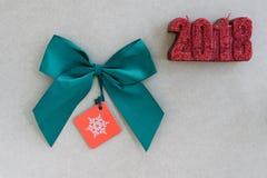 Zielony jedwabniczy tasiemkowy łęk Fotografia Royalty Free