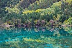 Zielony jezioro w górach jak lustro Obraz Stock