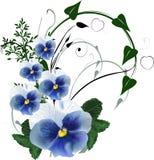 Zielony kędzior z bławymi kwiatami Obraz Royalty Free