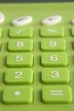 Zielony kalkulator Makro- Zdjęcie Royalty Free