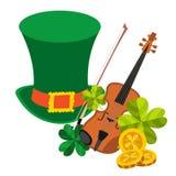 Zielony kapelusz, skrzypce, koniczyna, złociste monety Zdjęcia Royalty Free