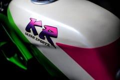 Zielony Kawasaki KR150SE Ultra bawi się Pełno zmodyfikowanego fotografia stock