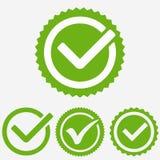 Zielony Kleszczowy Mark Czek oceny ikona Kleszczowy znak Zielony kleszczowy zatwierdzenie wektor ilustracji