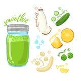 Zielony koktajl dla zdrowego życia Smoothies z ananasem, kokosowym mlekiem, bananem, ogórkiem i szpinakiem, Przepisu jarosz Zdjęcia Stock