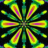 Zielony kolor żółty gwiazdy mandala, kolorowy wzór dla sztandaru Zdjęcia Stock