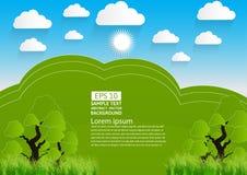 Zielony krajobraz, góra z drzewami i chmury, Wektorowa ilustracja papierowy sztuka styl ilustracji