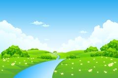 Zielony krajobraz z drzewami Obrazy Royalty Free