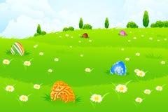 Zielony Krajobrazowy tło z Wielkanocnymi jajkami Zdjęcie Stock