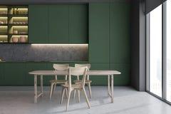 Zielony kuchenny wnętrze z kontuarami i stołem ilustracja wektor