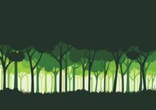 Zielony lasowy sylwetki tło Zdjęcia Royalty Free