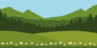 Zielony lato łąki krajobraz z stokrotka widokiem górskim i kwiatami royalty ilustracja