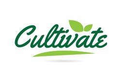 zielony liść Kultywuje ręki pisać słowa tekst dla typografia logo projekta ilustracja wektor