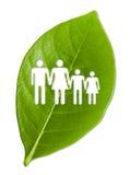 Zielony liść z cięcia out rodziną Obraz Royalty Free