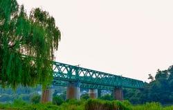 Zielony linia kolejowa most nad rzeką z wierzbowym drzewem w przedpolu Zdjęcie Stock