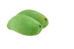 Zielony mango odizolowywający na białym tle Obrazy Royalty Free