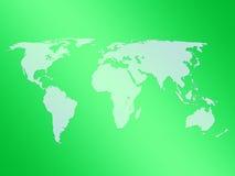zielony mapa świata Fotografia Stock