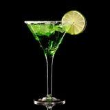 Zielony Margareta świeży koktajl odizolowywający na czerni fotografia royalty free