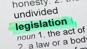 Zielony markier na ustawodawstwa słowie zdjęcie wideo