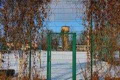 Zielony metalu ogrodzenie siatka i zamknięty drzwi przerastający z suchą roślinnością na ulicie w białym śniegu fotografia royalty free