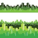 Zielony miasto, ilustracja, tło Zdjęcie Royalty Free