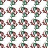 Zielony monstera na czerwonych palmowych li?ciach ilustracji