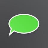 Zielony mowa bąbel dla rozmowy przy owalnym kształtem Fotografia Royalty Free