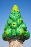Zielony mozaiki komin Palau Gï ¿ ½ ell Obrazy Royalty Free