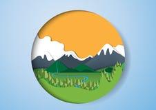 Zielony natura krajobrazu papieru sztuki tło Obraz Stock