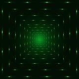 Zielony neonowy laserowy perspektywiczny tunel, czarny tło Obrazy Royalty Free