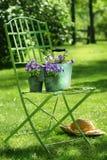 zielony ogród krzesło Obrazy Royalty Free