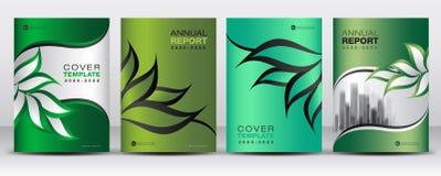 Zielony Okładkowy projekta szablonu wektor, natura organicznie liści kreatywnie pomysł, Może być use Biznesowa broszurki ulotka,  royalty ilustracja