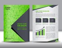 Zielony Okładkowy sprawozdanie roczne broszurki ulotki szablon Fotografia Royalty Free