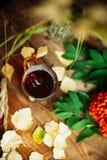 zielony okrąg w szaliku okno z liśćmi klonowymi i krople w po deszczu, jesieni, sezonie/gdy ty potrzebujesz ciepłych napoje Zdjęcie Stock