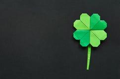 Zielony origami shamrock koniczyny liść Zdjęcie Stock