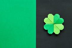 Zielony origami shamrock koniczyny liść Obraz Stock