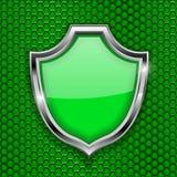 Zielony osłona znak Akceptuje 3d symbol na zieleń dziurkującym tle ilustracji