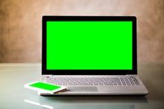 Zielony Parawanowy laptopu tło Obraz Royalty Free