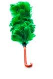 Zielony piórkowy duster na białym tle Fotografia Stock