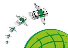 Zielony pieniądze z skrzydło komarnicami pości nad zieloną kulą ziemską ilustracji