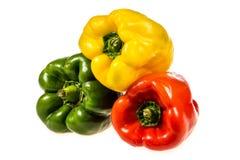 Zielony pieprz, kolor żółty i czerwonego pieprzu zakończenie, Zdjęcie Stock