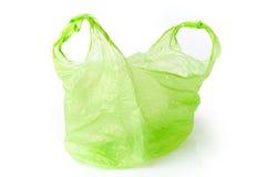 Zielony plastikowy worek odizolowywający Zdjęcia Stock