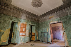 zielony pokój w zaniechanym kasztelu Fotografia Stock