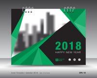 Zielony pokrywa kalendarza 2018 szablon, broszurka układ Obraz Stock