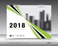 Zielony pokrywa kalendarza 2018 szablon, plakatowy układ Zdjęcie Royalty Free