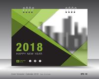 Zielony pokrywa kalendarza 2018 szablon, ulotka układ Fotografia Royalty Free