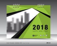 Zielony pokrywa kalendarza 2018 szablon, ulotka układu projekt Obrazy Royalty Free