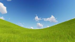 Zielony pole 3D i chmurny niebo odpłacamy się royalty ilustracja