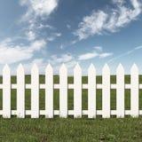 Zielony pole i bielu ogrodzenie royalty ilustracja
