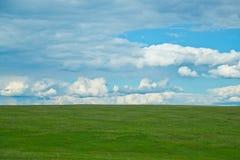 Zielony pole z chmurami Zdjęcia Royalty Free