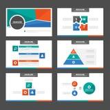 Zielony Pomarańczowy Błękitny infographic element i ikony prezentaci szablonów płaski projekt ustawiamy dla broszurki ulotki ulot Fotografia Stock